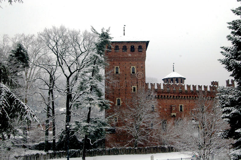 Castle under the snow stock images