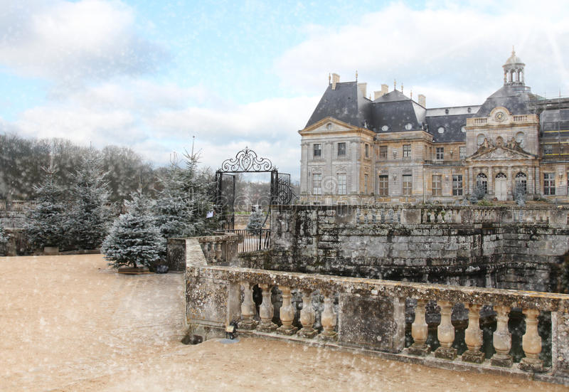 Castle vaux le vicomte in winter stock photography