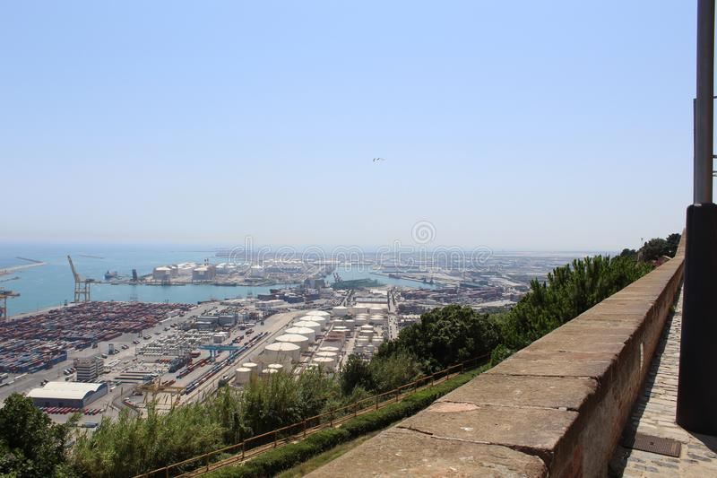 Castle view of  Barcelona Spain. Castle view of Barcelona Spain to the harbor in a sunny day royalty free stock photo