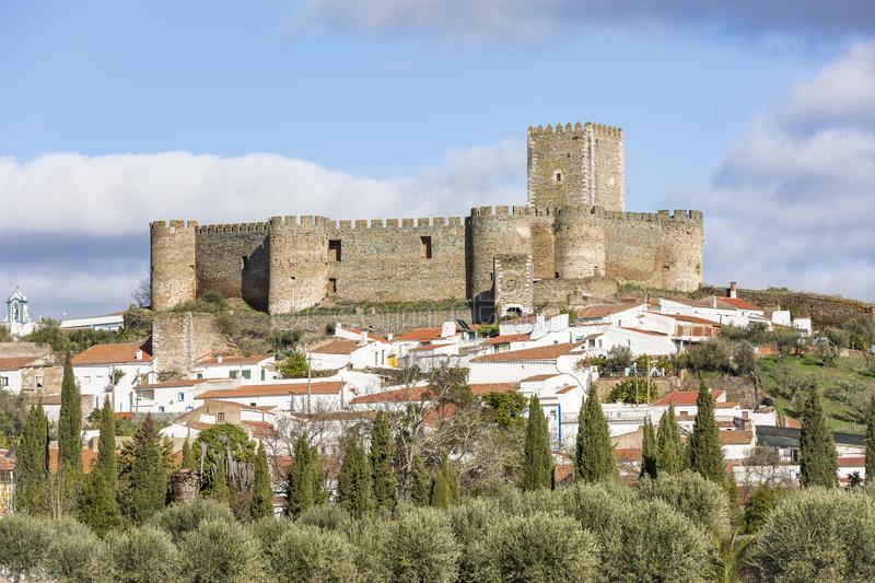 Castle and a view of Portel town, district of Evora, Portugal. The castle and a view of Portel town, district of Evora, Portugal royalty free stock photos