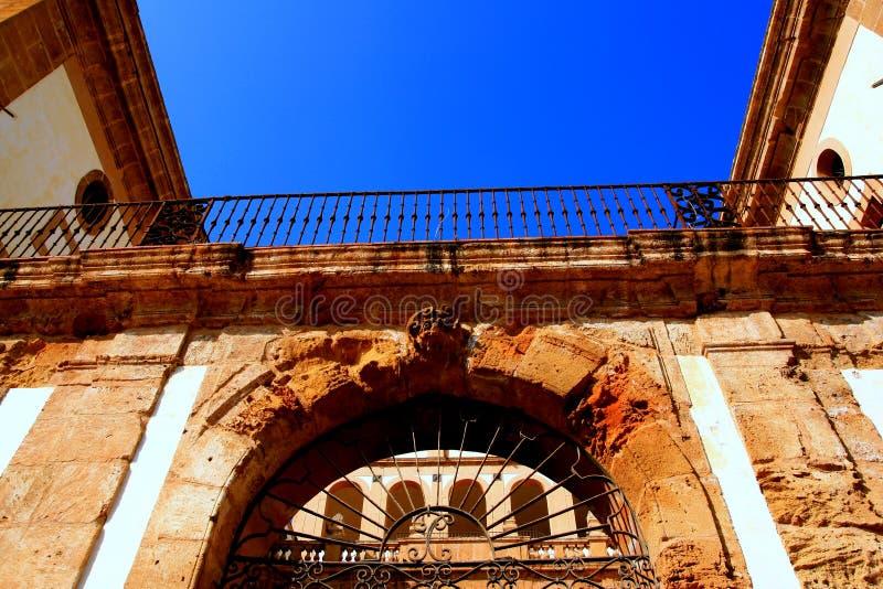 Castle villa entrance door stock photo
