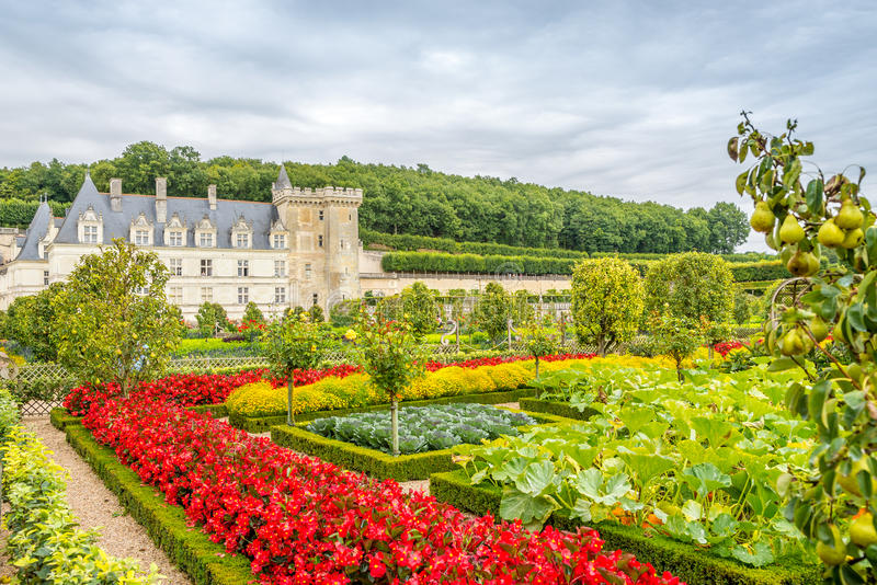 Castle Villandry with garden. royalty free stock images