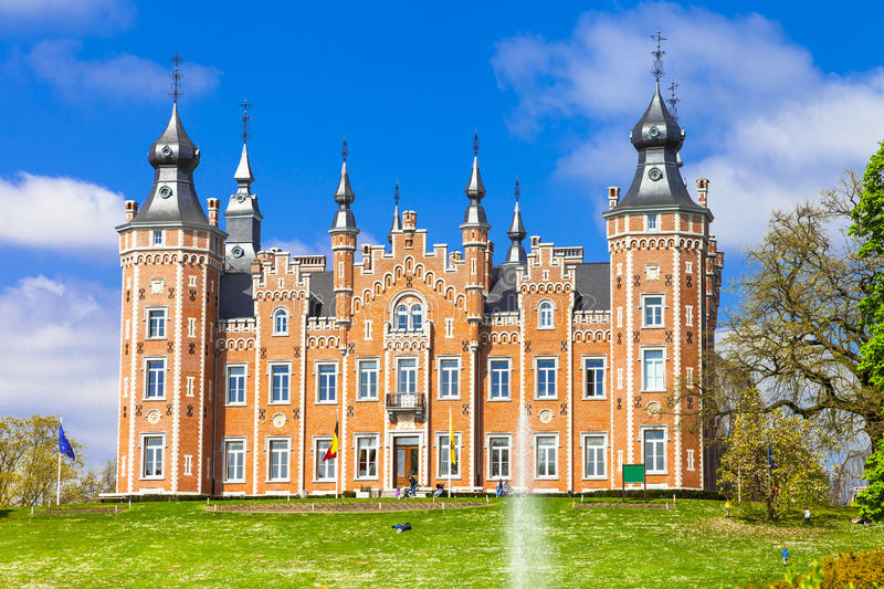 Castle Viron. Belgium. Fairytale castle Viron in Belgium royalty free stock photography