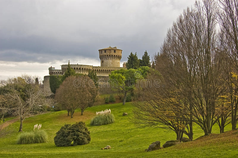 Castle in Volterra. Park and castle in Volterra, Tuscany, italy royalty free stock photography