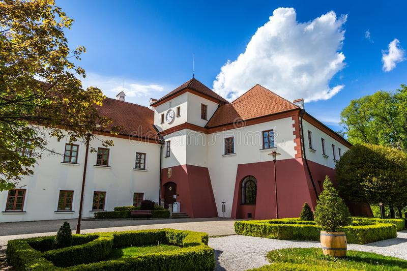 Castle Vysoky Hradek near Temelin in summer day. Czech Republic.  stock photos