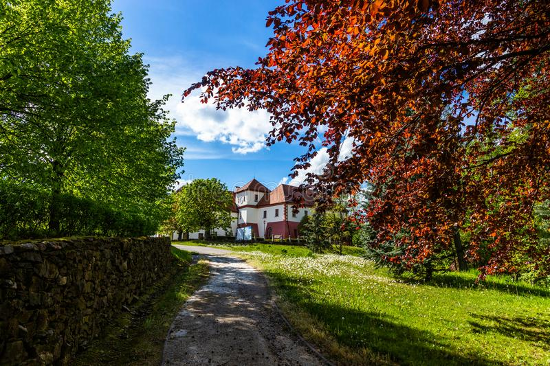Castle Vysoky Hradek near Temelin in summer day. Czech Republic.  royalty free stock photos