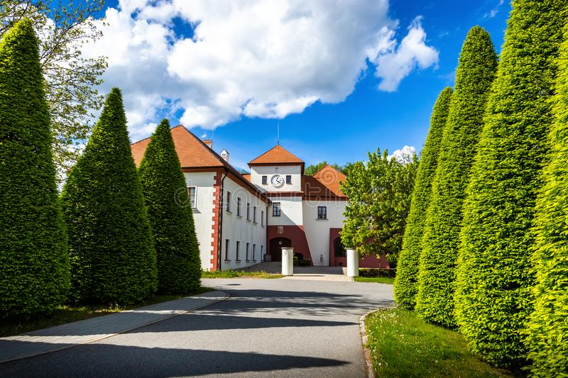 Castle Vysoky Hradek near Temelin in summer day. Czech Republic.  stock images