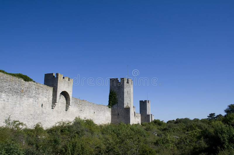 Castle wall. Around Visby city on Gotland royalty free stock photography