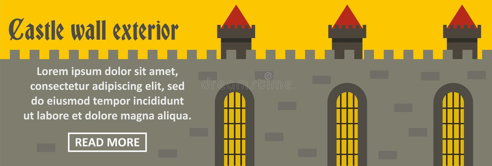 Castle wall exterior banner horizontal concept royalty free illustration