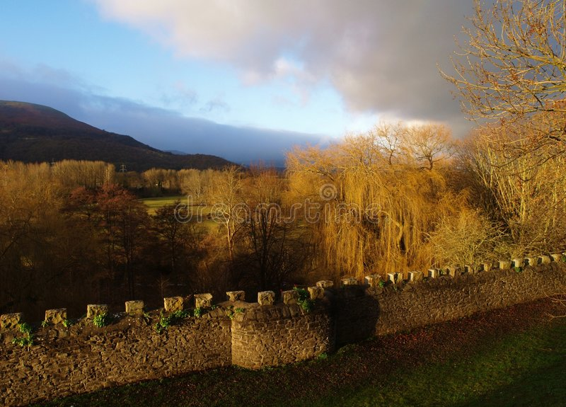 Download Castle Wall And Valley In Wales, UK Stock Photo - Image: 7519860
