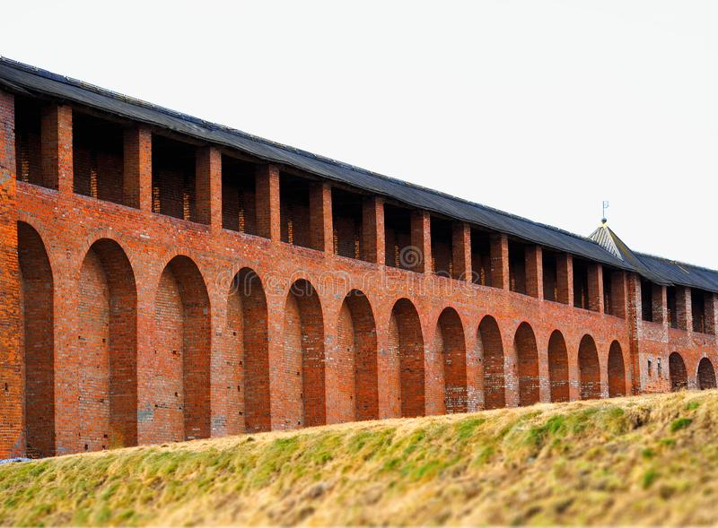 Castle walls in perspective architecture background stock photography