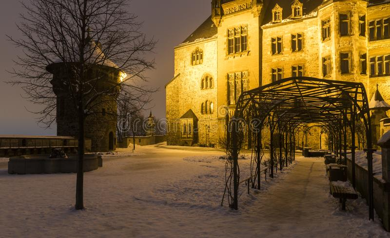 Castle Wernigerode in Winter in Germany royalty free stock photos