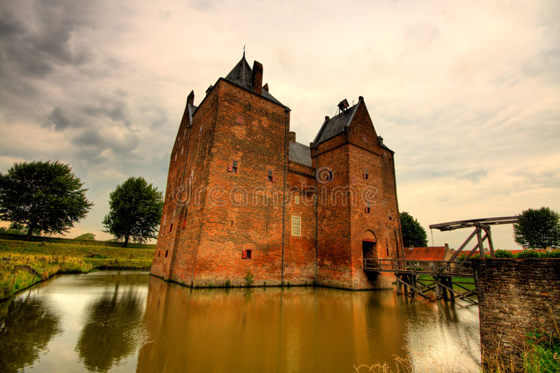 A castle wide angle view stock image