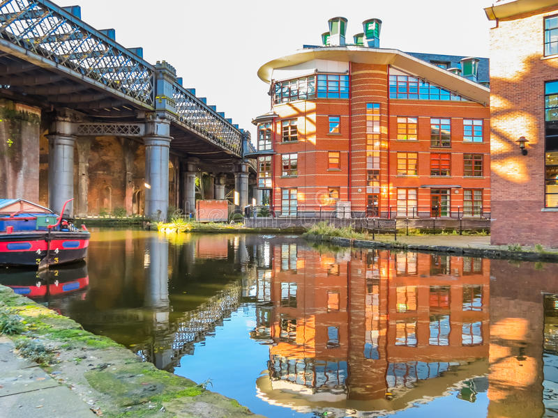 Castlefield, Manchester, England, United Kingdom. Bridges and canals of the Castlefield, an inner city conservation area, Manchester, England, United Kingdom stock image