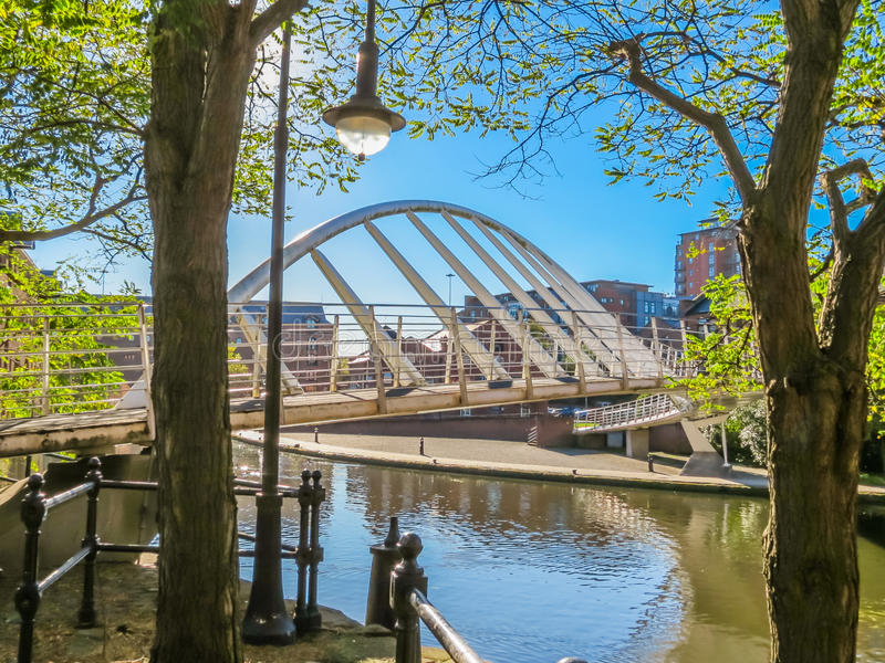 Castlefield, Manchester, England, United Kingdom. Bridges and canals of the Castlefield, an inner city conservation area, Manchester, England, United Kingdom royalty free stock photo