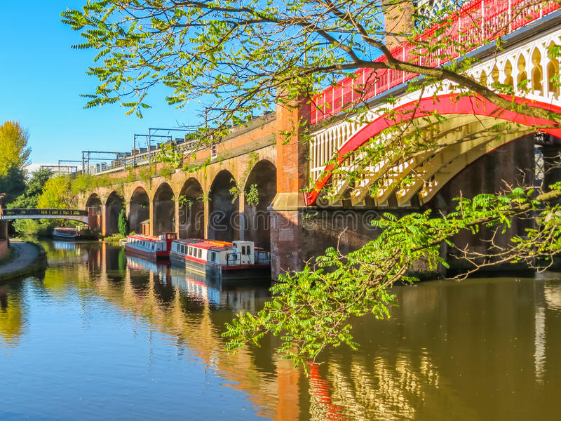 Castlefield, Manchester, England, United Kingdom. Houseboat on the channel of the Castlefield, an inner city conservation area, Manchester, England, United royalty free stock photography
