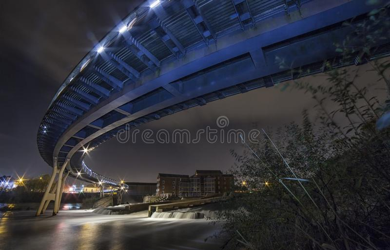 Castleford Footbridge over the River Aire royalty free stock photo