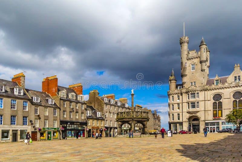 Castlegate en el centro de ciudad, Aberdeen, Escocia, Gran Bretaña, 13/08 2017 foto de archivo