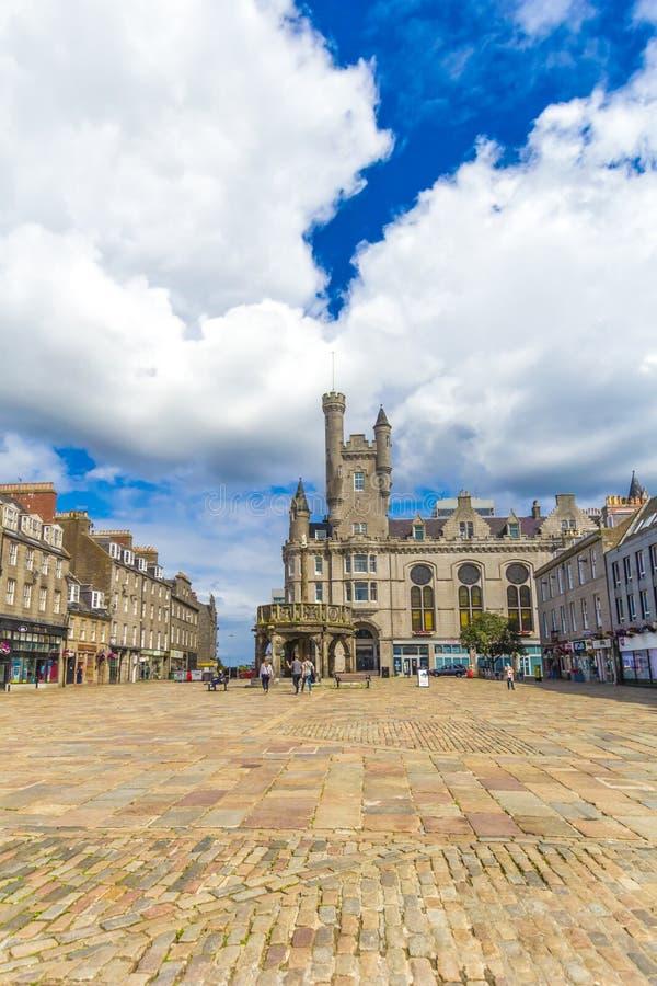 Castlegate in het stadscentrum, Aberdeen, Schotland, Groot-Brittannië, 13/08 2017 stock foto's