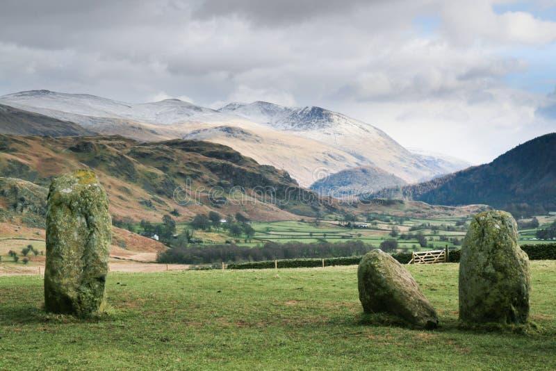 castlerigg圈子helvellyn石头 免版税库存照片