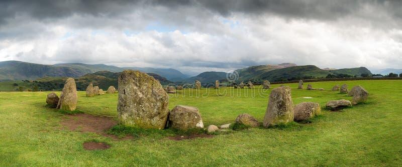 Castlerigg石头圈子全景  库存照片