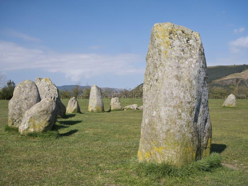 The Castlerigg Stone Circle near Keswick, Cumbria, UK. The Neolithic / Bronze Age Castlerigg Stone Circle near Keswick, Cumbria in the North West UK on a sunny royalty free stock photo