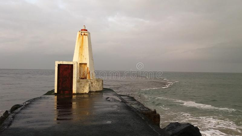 Castlerock Northern Ireland. Destroyed lighthouse on the waterfront royalty free stock photography