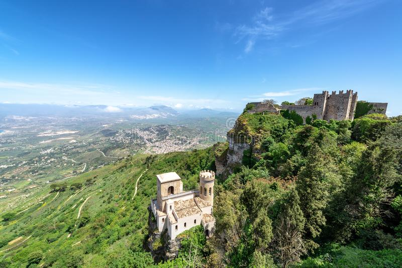 Castles in Erice, Italy. Castles in a dramatic setting in Erice, Italy on the island of Sicily royalty free stock photography