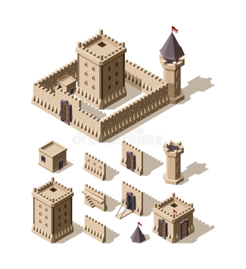 Castles isometric. Creation kit of medieval buildings walls gates towers of ancient castles vector architectural assets vector illustration