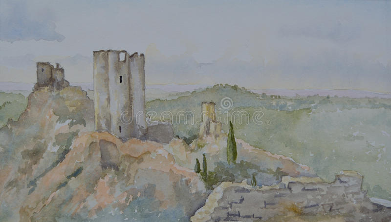 The 4 Castles at Lastours royalty free stock photos