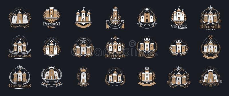 Castles logos grande set vettoriale, vintage heraldic fortresses emblems collection, classico stile eraldry design, antichi eleme illustrazione vettoriale