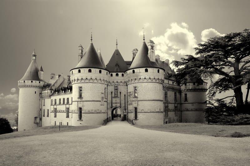 Castles of Loire valley. Chaumont-sur-loire castle artistic toned picture stock photos