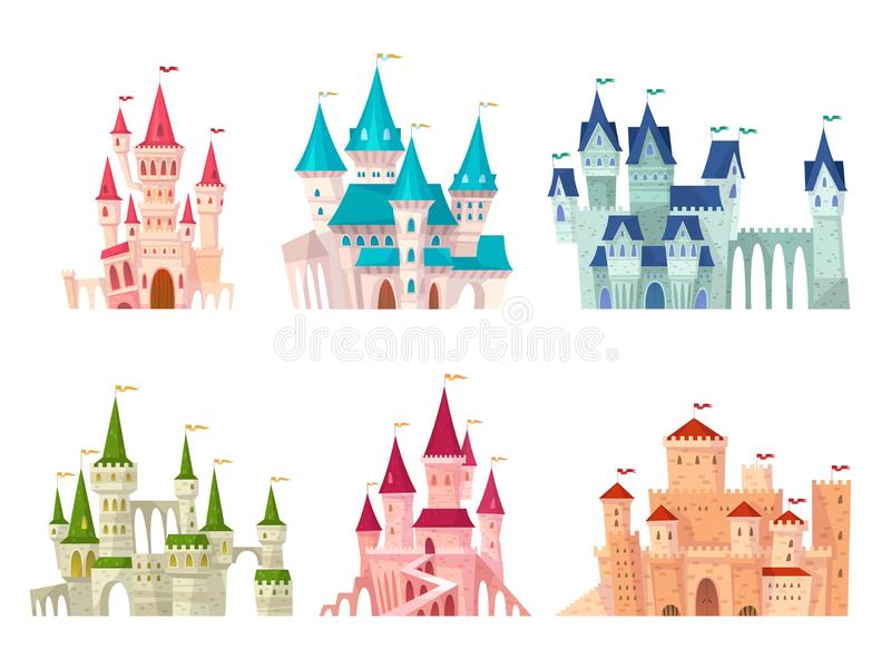 Castles set. Medieval castle towers fairytale mansion fortress fortified palace gate ancient gothic citadel cartoon set. Castles set. Medieval castle towers stock illustration