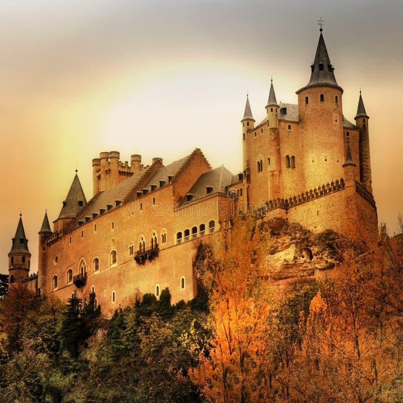 Castles of Spain. Impressive Alcazar castle on sunset - Segova, Spain stock photo