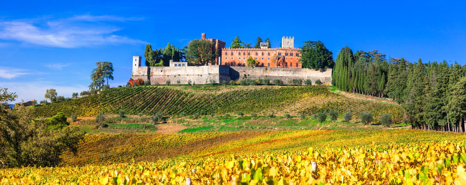 Castles and vineyards of Tuscany, Chianti wine region. Impressive Brolio castle, view with colorful vineyards, Tuscany, Italy royalty free stock photo