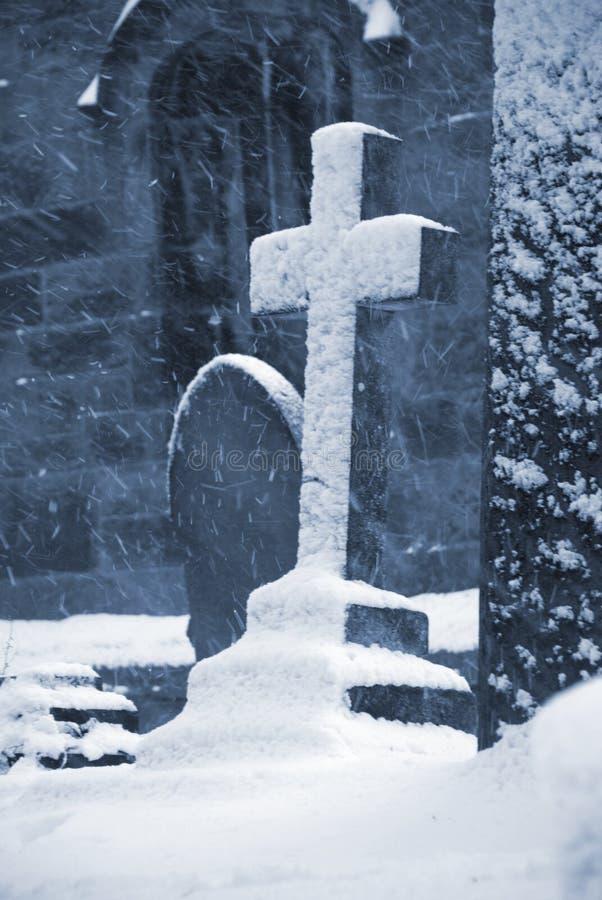 Castleton Grave. A snowy castleton war memorial in the peak district royalty free stock image