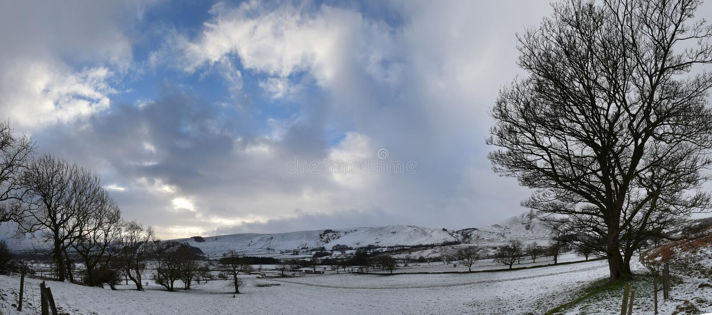 Winter snow of Castleton, Peak District, UK. Castleton, Peak District, UK - Photo taken on Dec 9th, 2017 royalty free stock images