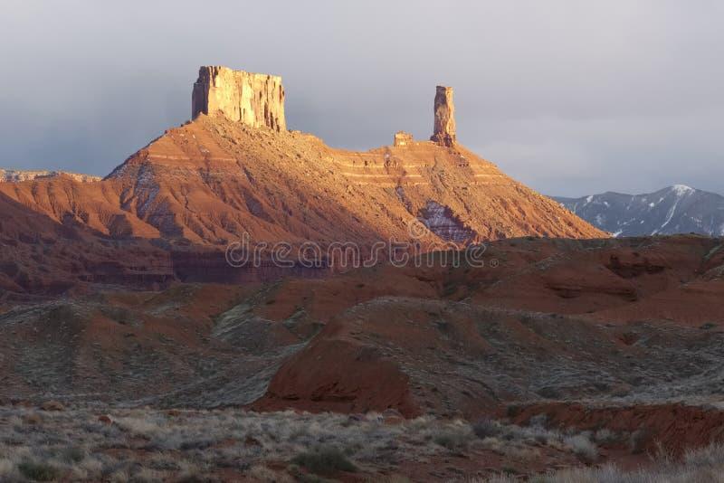 Castleton Tower. In Castle Valley, Utah stock images