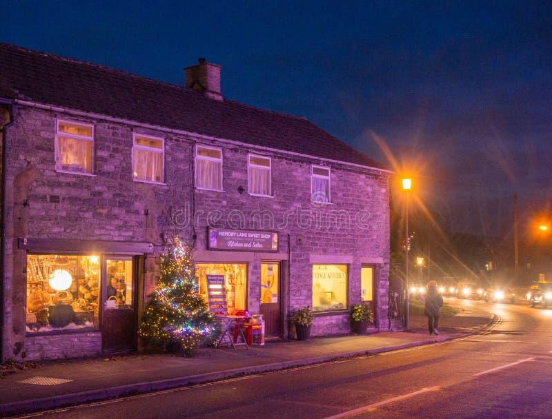 Castleton. Village, High Peak, Derbyshire, UK. December 4th 2016. Beautifull  Village traditionally decotated in celebration of Xmas 2016, , High Peak stock image