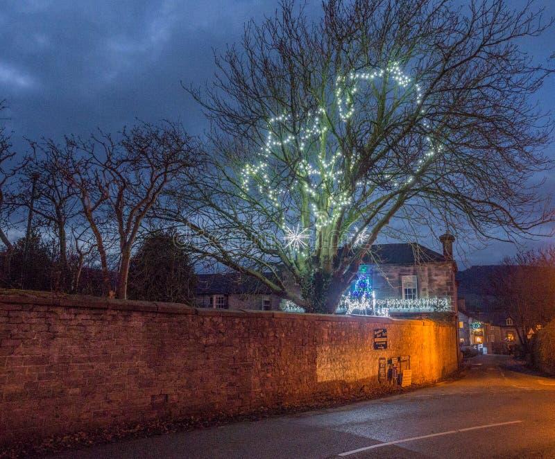Castleton. Village, High Peak, Derbyshire, UK. December 4th 2016. Beautifull  Village traditionally decotated in celebration of Xmas 2016, , High Peak royalty free stock photo