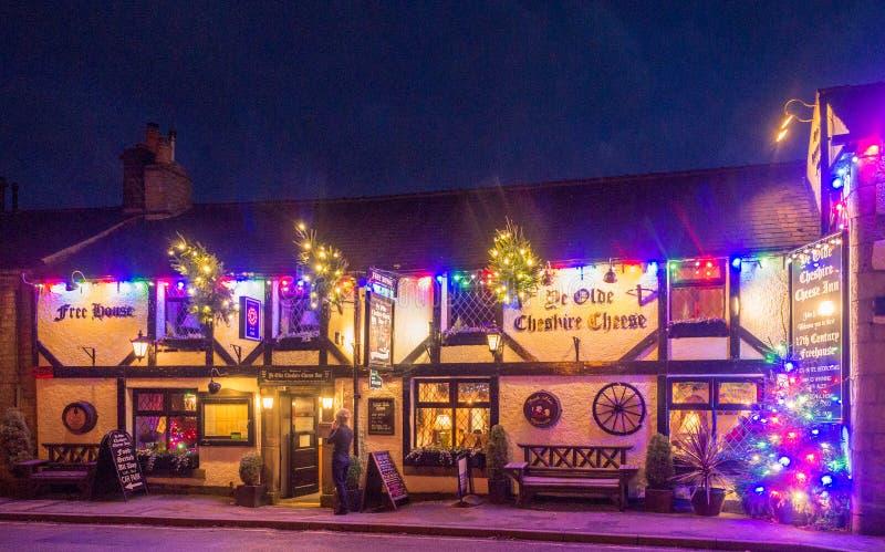 Castleton. Village, High Peak, Derbyshire, UK. December 4th 2016. Beautifull  Village traditionally decotated in celebration of Xmas 2016, , High Peak royalty free stock photography