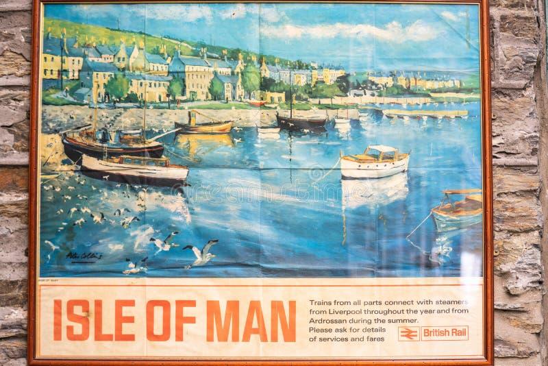 Castletown, het Eiland Man, 16 Juni, 2019 Haven St Mary, die in deze affiche wordt geïllustreerd stock fotografie