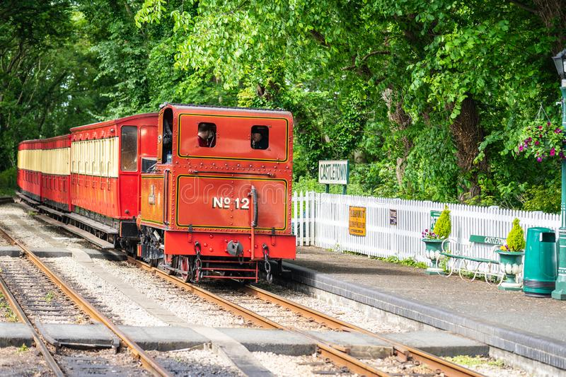 Castletown,Isle of Man, June 16, 2019. The Isle of Man Railway is a narrow gauge steam-operated railway connecting Douglas with. Castletown and Port Erin royalty free stock photo