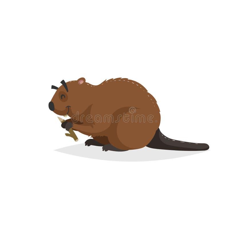 Castor alegre de la historieta con el pedazo de madera Animal de Forest Europe y de Norteamérica Plano con diseño de moda de las  ilustración del vector