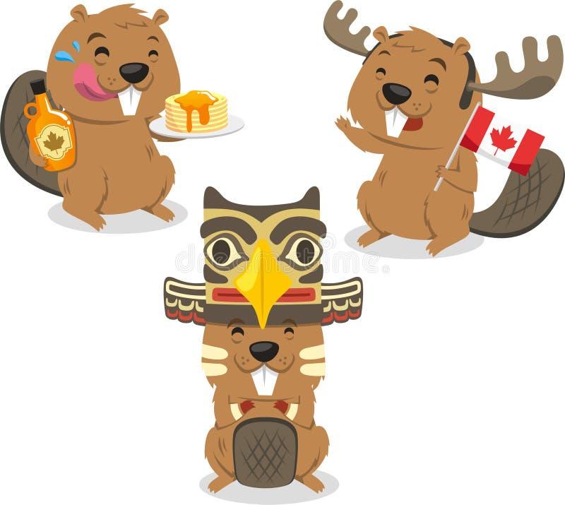 Castor canadiense que sostiene la bandera de Canadá stock de ilustración