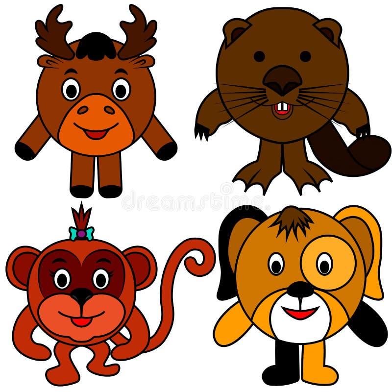 Castor de los alces del mono del perro stock de ilustración