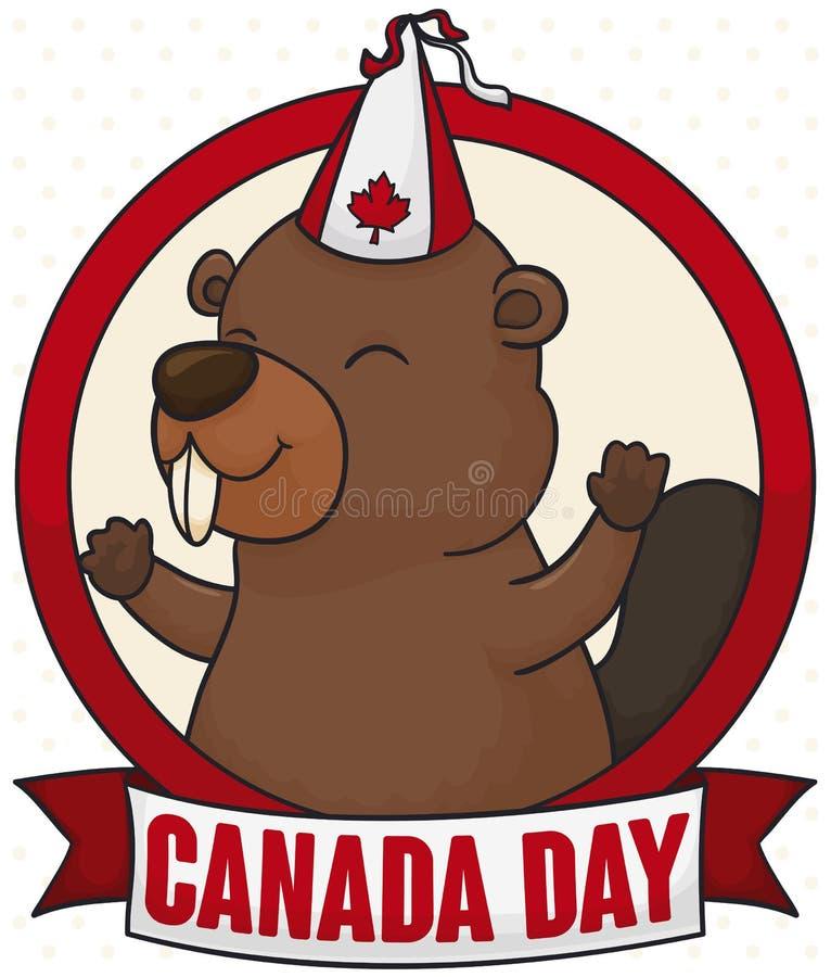 Castor feliz con el sombrero del partido y cinta para el día de Canadá, ejemplo del vector stock de ilustración