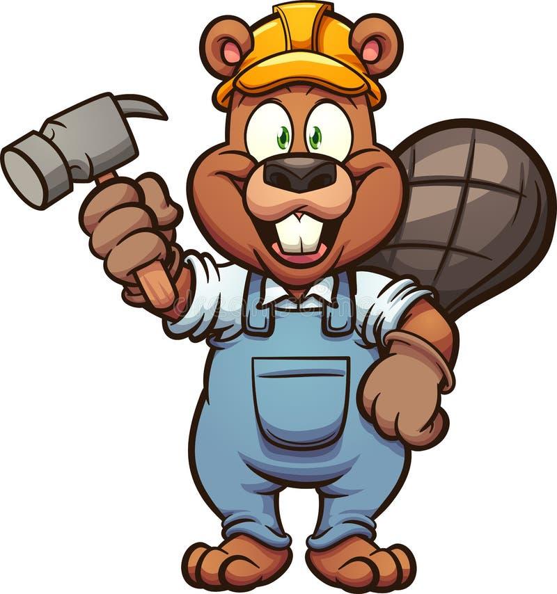 Castor feliz da construção que guarda um martelo