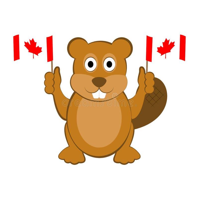 Castor feliz que sostiene banderas canadienses stock de ilustración