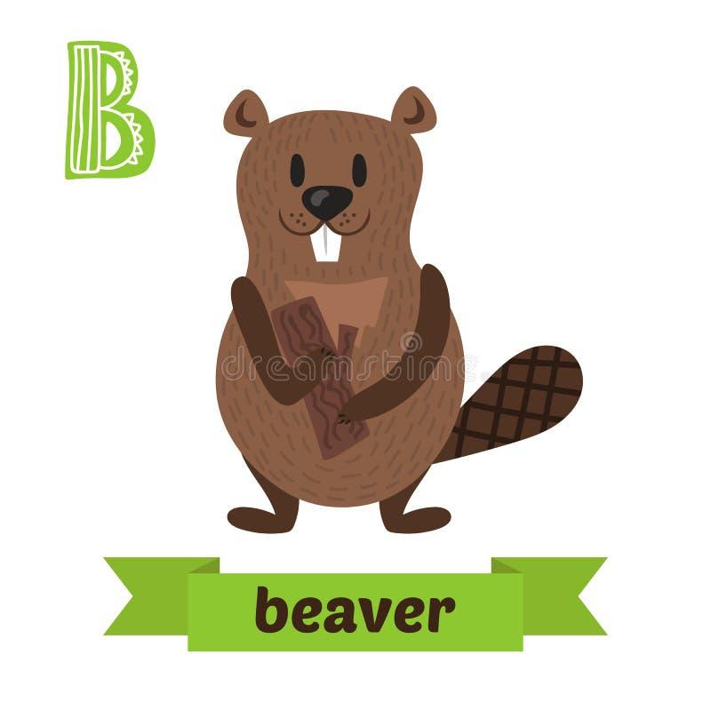 castor Letra de B Alfabeto animal de los niños lindos en vector divertido stock de ilustración